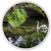 Arched Bridge And Swan At Doneraile Park Round Beach Towel