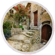 Arched Cobblestone Stairway In Eze, France 2 Round Beach Towel