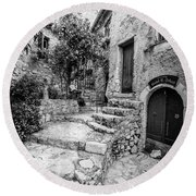 Arched Cobblestone Stairway In Eze, France, Blk Wht Round Beach Towel