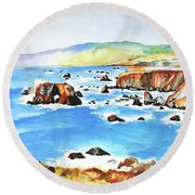Arched Rock Sonoma Coast California Round Beach Towel