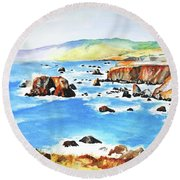 Arched Rock Sonoma Coast California Round Beach Towel