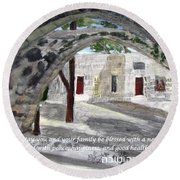 Round Beach Towel featuring the painting Arches At Ein Hod by Linda Feinberg