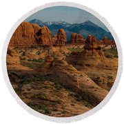 Round Beach Towel featuring the photograph Arches National Park by Gary Lengyel