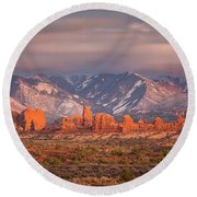 Arches National Park Pano Round Beach Towel