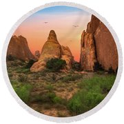 Arches National Park Sunset Round Beach Towel