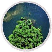 Archipelago Island - Aerial Photography Round Beach Towel