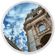 Architectural Majesty On Top Of The Sky Round Beach Towel