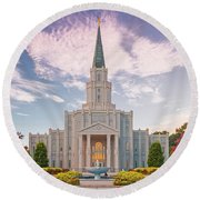 Architectural Photograph Of Houston Latter Day Saints Temple In Champions Forest - Lds Church Texas Round Beach Towel