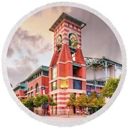 Architectural Photograph Of Minute Maid Park Home Of The Astros - Downtown Houston Texas Round Beach Towel