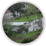 Architectural Ruins In Angra Do Heroismo Round Beach Towel