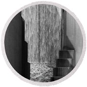 Architectural Waterfall In Black And White Round Beach Towel