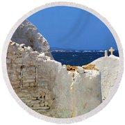 Architecture Mykonos Greece 2 Round Beach Towel by Bob Christopher