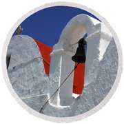 Round Beach Towel featuring the photograph Architecture Mykonos Greece by Bob Christopher