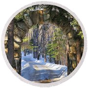 Archway To Winter Round Beach Towel