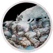 Round Beach Towel featuring the painting Arctic Encounter by Sherry Shipley