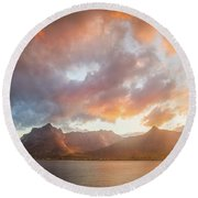 Round Beach Towel featuring the photograph Arctic Susnset by Maciej Markiewicz