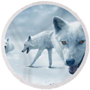 Arctic Wolves Round Beach Towel by Mal Bray