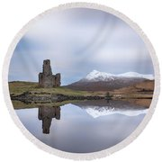 Ardvreck Castle Reflection Round Beach Towel