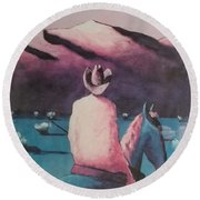 Are There Anymore Real Cowboys? Round Beach Towel by Jay Milo