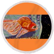 Are We Alone Round Beach Towel by Angela Davies
