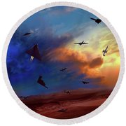 Round Beach Towel featuring the digital art Area 51 Expanded Version by Dave Luebbert
