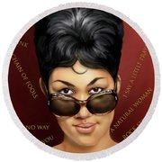 Aretha Franklin Ain't Nothing Like The Real Thing Round Beach Towel