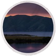 Aregunyats Range And Sevan Lake At Sunset, Armenia Round Beach Towel by Gurgen Bakhshetsyan