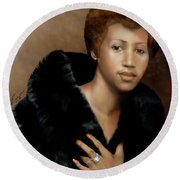 Aretha Franklin Once Upon A Queen Round Beach Towel