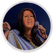 Aretha Franklin Painting Round Beach Towel by Paul Meijering