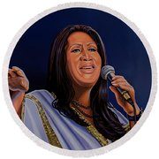 Aretha Franklin Painting Round Beach Towel