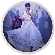 Aretha Franklin Rock Steady Round Beach Towel