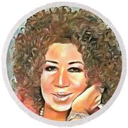 Round Beach Towel featuring the painting Aretha Franklin by Wayne Pascall
