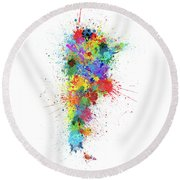 Argentina Paint Splashes Map Round Beach Towel