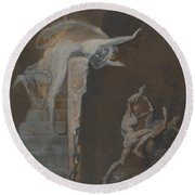 Ariadne Watching The Struggle Of Theseus With The Minotaur Round Beach Towel