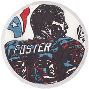Round Beach Towel featuring the drawing Arian Foster 2 by Jeremiah Colley