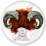 Aries Round Beach Towel