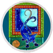 Aries Cat Zodiac Round Beach Towel