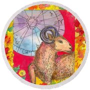 Round Beach Towel featuring the painting Aries by Cathie Richardson