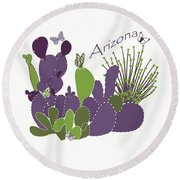 Round Beach Towel featuring the digital art Arizona Cacti by Methune Hively
