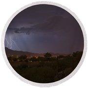 Round Beach Towel featuring the photograph Arizona Monsoon Lightning by Dan McManus