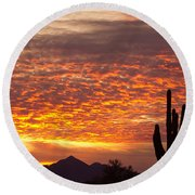Arizona November Sunrise With Saguaro   Round Beach Towel