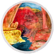 Arizona Rainbow Round Beach Towel by Eric Samuelson