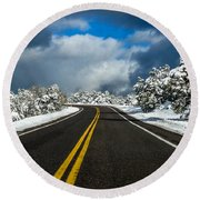 Arizona Snow Road Round Beach Towel