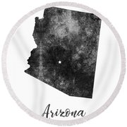 Arizona State Map Art - Grunge Silhouette Round Beach Towel