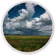 Round Beach Towel featuring the photograph Arizona Storm 2139  by David Haskett