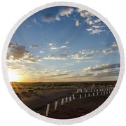 Round Beach Towel featuring the photograph Arizona Sunrise by Margaret Pitcher