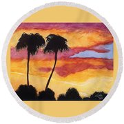 Arizona Sunrise - Scottsdale 5 A.m. Round Beach Towel by Rand Swift