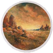Round Beach Towel featuring the painting Arizona Sunset by Andrew King