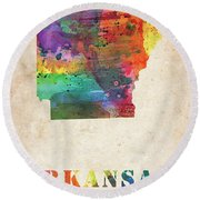 Arkansas Colorful Watercolor Map Round Beach Towel