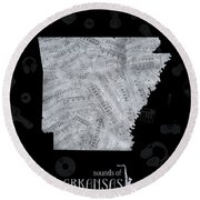 Arkansas Map Music Notes 2 Round Beach Towel